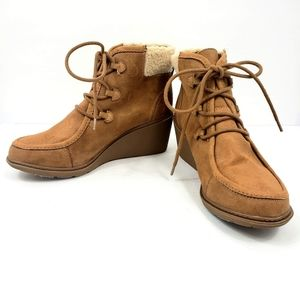 Mad Love Suede Wedged Ankle Booties